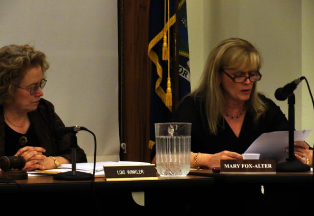 Pleasantville Board of Education President Lois Winkler, left, and Superintendent Mary Fox-Alter along with the rest of the board are presenting a budget that will eliminate four teacher assistants and ten teacher aides.