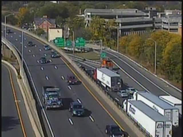 Traffic is at a standstill on westbound I-84 in Waterbury. The highway is closed Monday afternoon due to a serious crash at Exit 19.